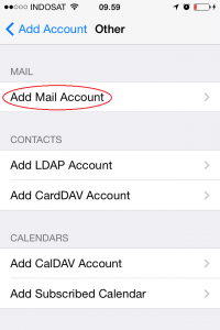 setting email hosting di email client iphone
